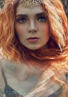 Beautiful redhead norwegian girl with big eyes