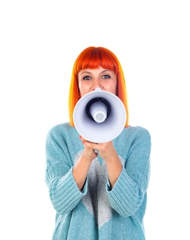 Beautiful redhead woman with a megaphone