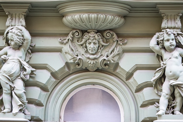 Beautiful residential buildings in the art-nouveau style in prague
