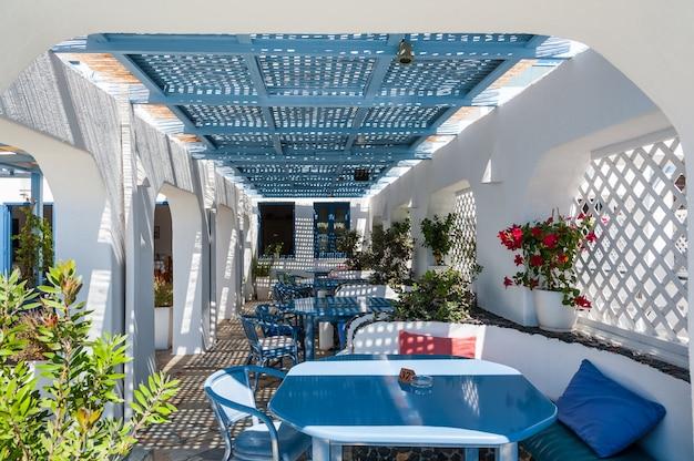 Beautiful restaurant in the sun of santorini