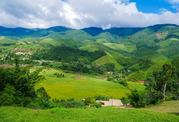 Beautiful rice field landscapes and valley villages.