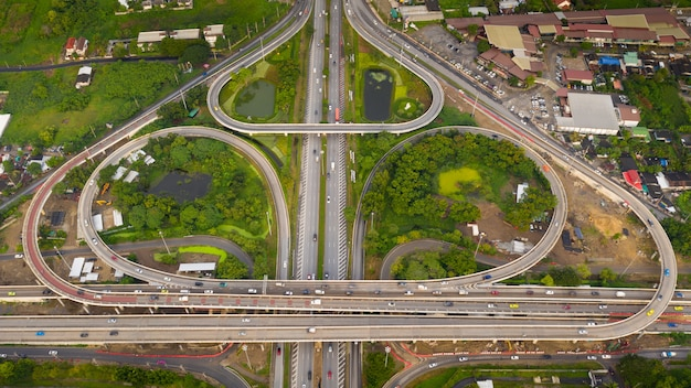 Beautiful ring road and expressway shape bo leaf in thailand aerial view