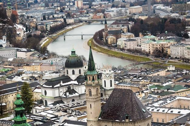 寒い冬の日のザルツブルクの美しい川ザルツァハ