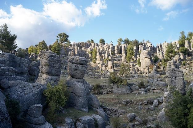 青い空の下の美しい岩層。見事な自然の風景。インスピレーションを与えるビュー。