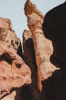 Beautiful rocky cliffs on the desert captured on a sunny day