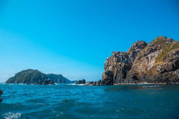 The beautiful rocky farallones in punta de sal in the caribbean sea, tela. honduras