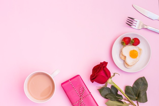 Beautiful romantic composition of breakfast with presents