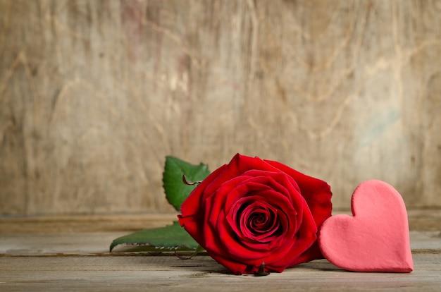 Beautiful rose and handmade hearts