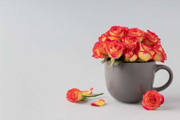 Beautiful roses in cup on grey background, space for text. celebrating woman's day, valentine
