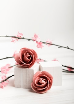 Beautiful roses on white cubes