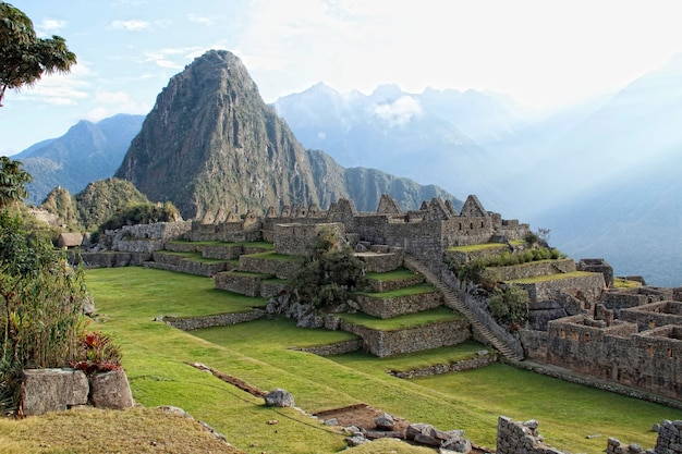 The beautiful ruins of machu picchu and in wayna picchu. peru