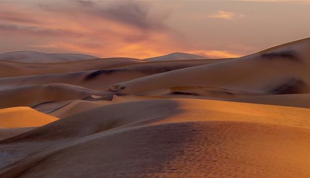 ナミブ砂漠の美しい砂丘と劇的な空