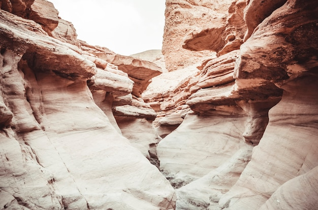 Beautiful sandstone cliffs of the red canyon in the mountains of southern eilat, israel.