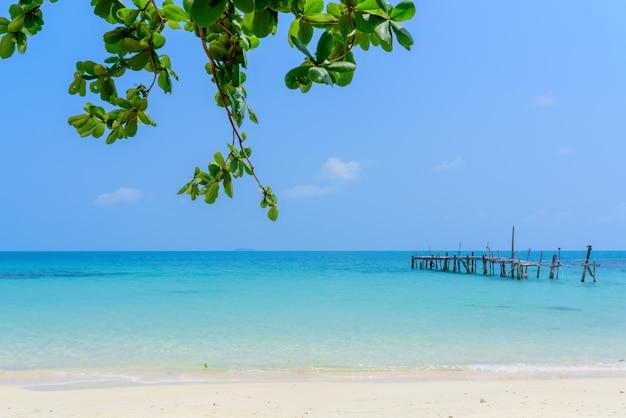 Beautiful sandy and old bridge in the water of koh samet thailand