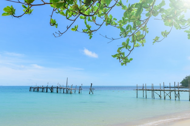 Beautiful sandy and old bridge in the water,tree top view and sunlight of koh samet thailand