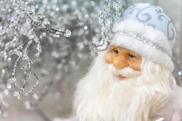 Beautiful santa claus christmas toy card closeup