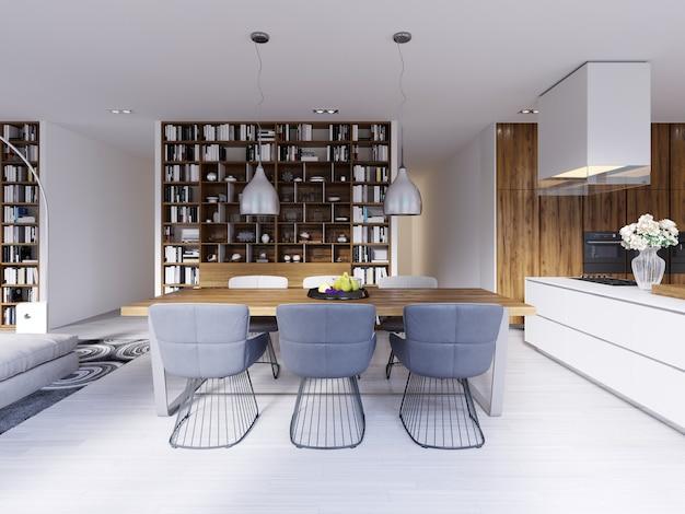 Красивая столовая в скандинавском стиле в современном доме. 3d рендеринг