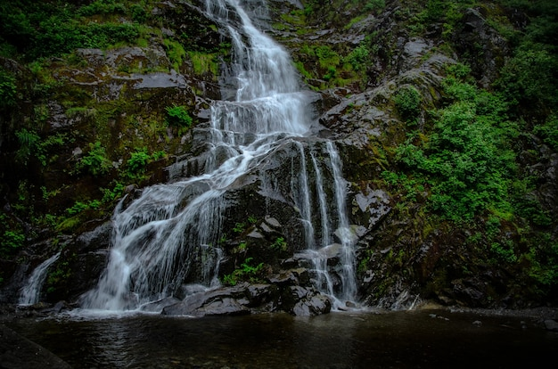 Beautiful scene of the waterfall between rocks of flood falls hope in canada