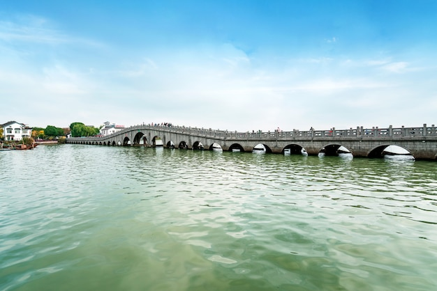 Beautiful scenery on the ancient town of zhouzhuang, suzhou, china