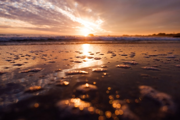 Beautiful scenery of breathtaking sunset reflected in wet sand near the sea under colorful sky