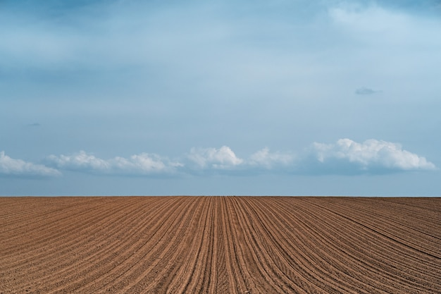 Splendido scenario di un campo agricolo coltivato sotto un cielo nuvoloso