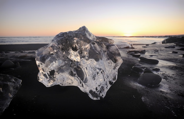 Beautiful scenery of jokulsarlon, glacier lagoon, iceland, europe during sunset