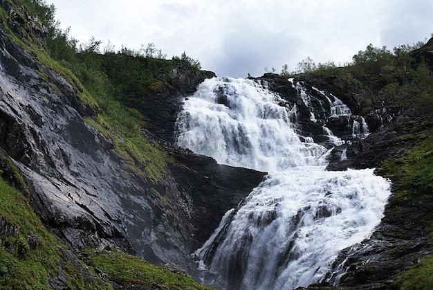Beautiful scenery of the kjosfossen waterfall in myrdal, norway