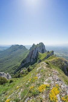 생생한 하늘 아래 산의 아름다운 풍경