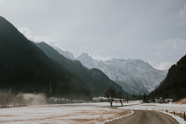 曇り空の下で高い岩山に囲まれた道の美しい風景