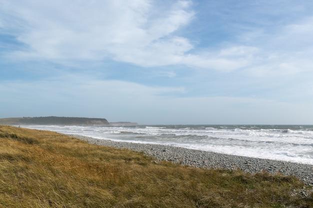 曇り空の下で海岸に向かって移動する海の波の美しい風景