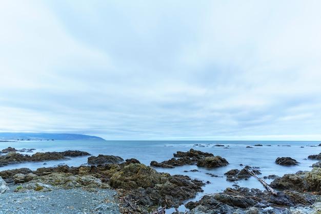 Taputeranga 해양 보호구의 아름다운 풍경은 뉴질랜드 북섬 웰링턴의 island bay, owhiro bay 및 houghton bay를 포함하는 wellington의 남쪽 해안에 위치하고 있습니다.