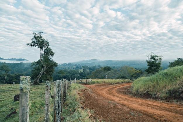 Красивые пейзажи дикой изогнутой грунтовой дороги.