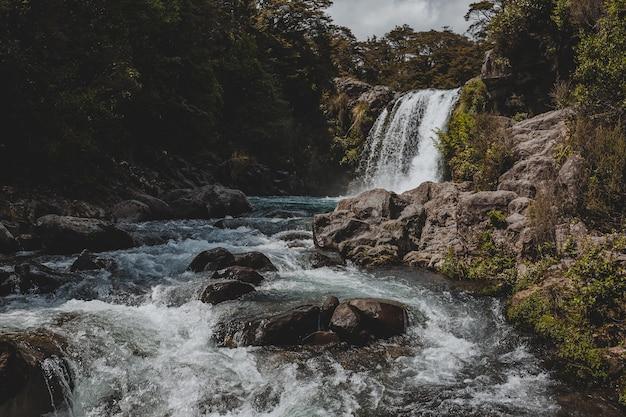 Splendido scenario di una potente cascata nella piscina di gollum, nuova zelanda