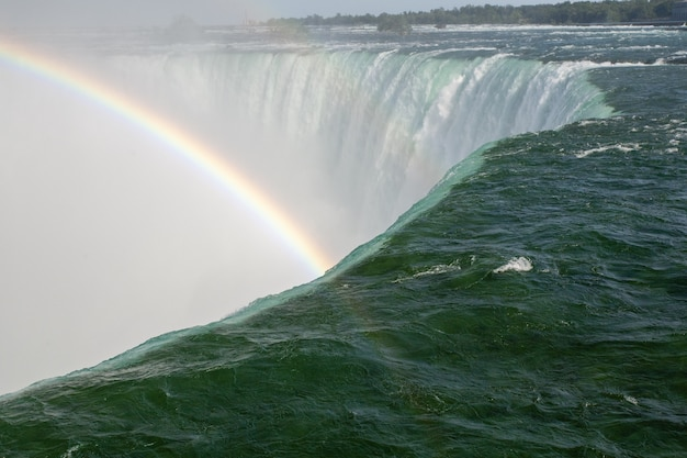 Beautiful scenery of a rainbow forming on the horseshoe falls in  canada