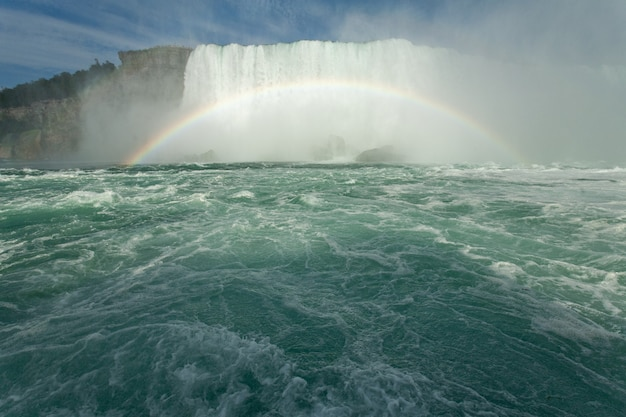 Beautiful scenery of a rainbow forming near the horseshoe falls in canada