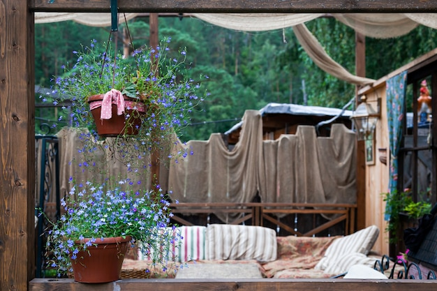 Beautiful scenery of the rustic veranda