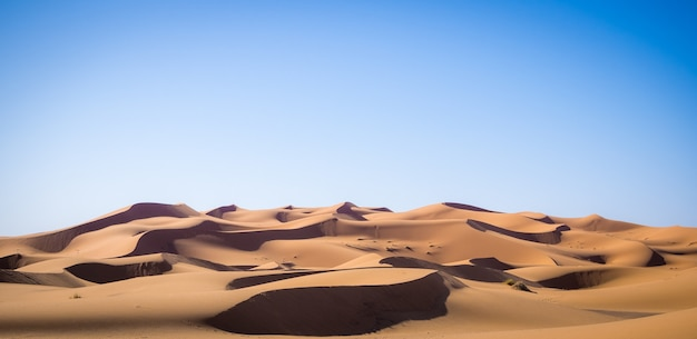 Beautiful scenery of sahara desert, erg chebbi dunes in merzouga, morocco