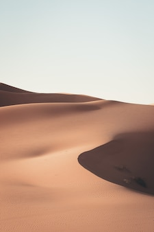Beautiful scenery of sand dunes in a desert area on a sunny day