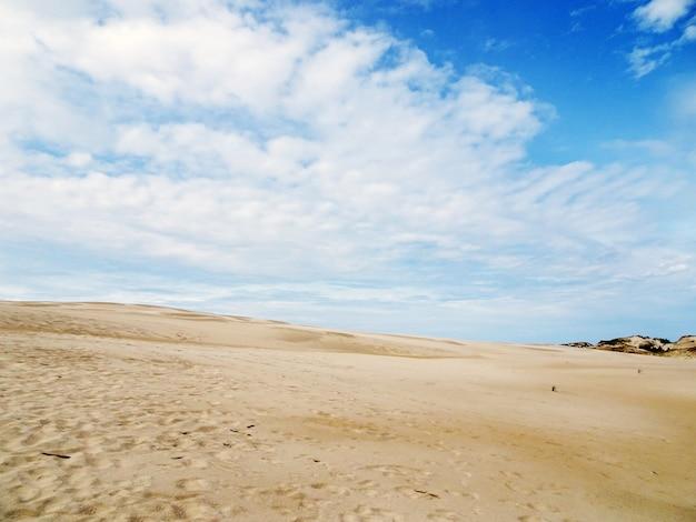 Uno splendido scenario di una spiaggia di sabbia sotto un cielo nuvoloso a leba, polonia