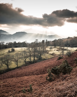 Beautiful scenery of the sunrise in the lake district over derwent water