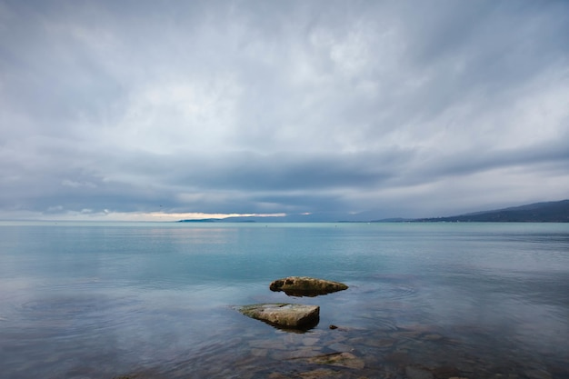 Beautiful scenery of tranquil sea and rocks in the water