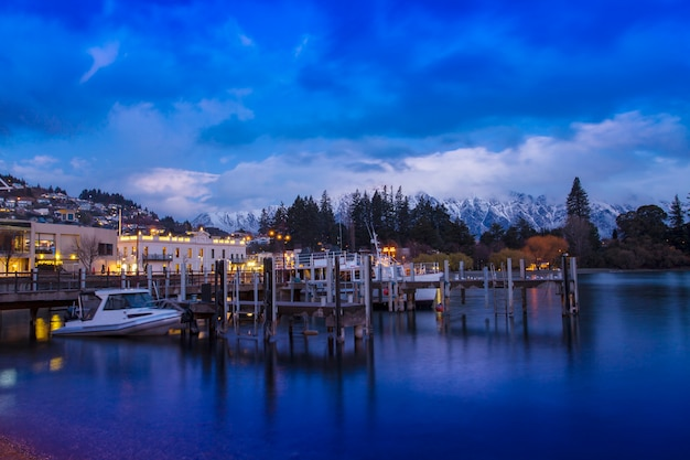 Beautiful scenic of queenstown pier most popular traveling destination in south island new