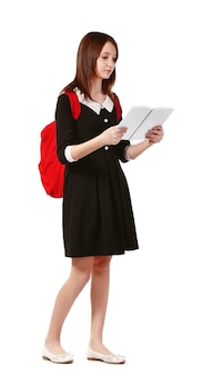 Schoolbag 화이트에 책을 읽고 아름 다운여 학생
