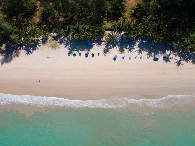 Beautiful sea and beach from above beach sand in sunny sea water blue green