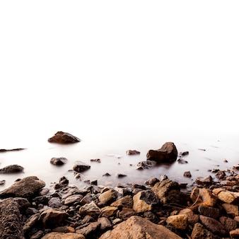 Beautiful sea. foreground stone walls