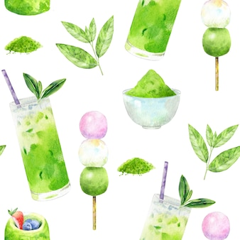 Beautiful seamless background of matcha tea