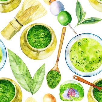 抹茶と美しいシームレスパターン