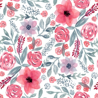 Beautiful seamless pattern with mess of hand drawn watercolor pink flowers and blue leaves on white background