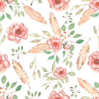 Beautiful, seamless, tileable pattern with watercolor flower bouquets, branch of leaves, peony flowers blossomsand feathers. vintage background.