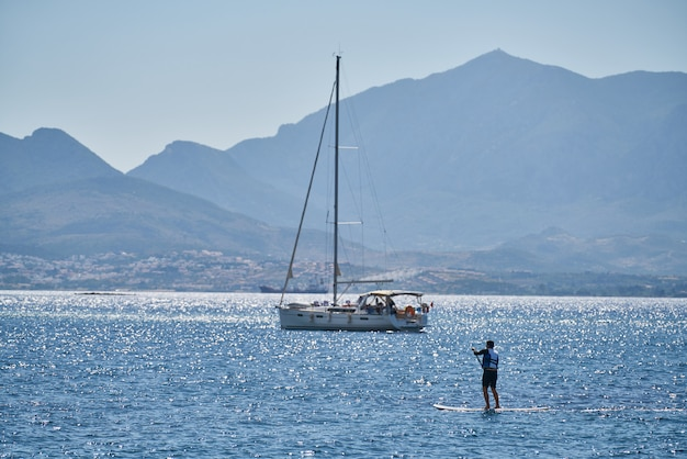Beautiful seascape and sailboat surface